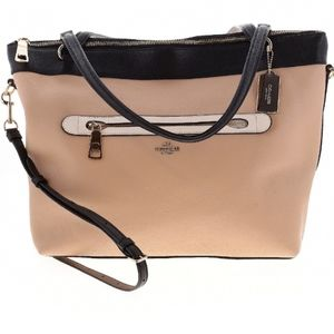 Coach Tan and Black Leather Bag